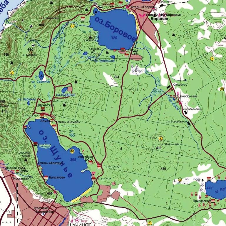 озеро Щучье и Боровое - карта